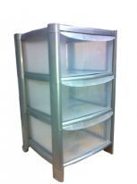 TML 3 Tier Drawer Trolley with Feet & Wheels - Silver Frame/Clear Drawers